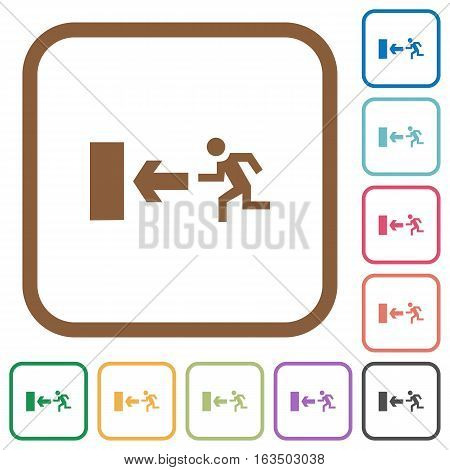 Exit sign simple icons in color rounded square frames on white background