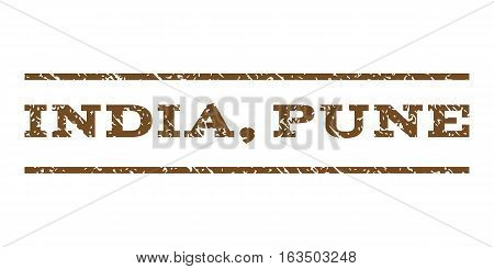 India, Pune watermark stamp. Text caption between horizontal parallel lines with grunge design style. Rubber seal stamp with dirty texture. Vector brown color ink imprint on a white background.