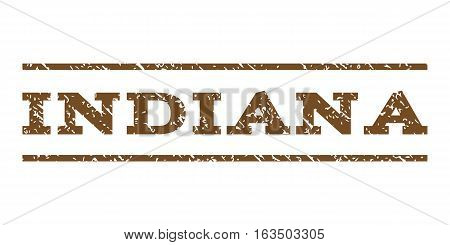 Indiana watermark stamp. Text tag between horizontal parallel lines with grunge design style. Rubber seal stamp with unclean texture. Vector brown color ink imprint on a white background.