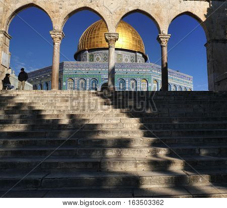 Dome of the Rock on  the Temple Mount in the Old City of Jerusalem. UNESCO World Heritage Site.