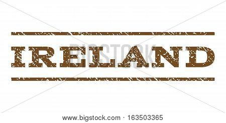 Ireland watermark stamp. Text caption between horizontal parallel lines with grunge design style. Rubber seal stamp with dirty texture. Vector brown color ink imprint on a white background.
