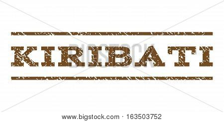 Kiribati watermark stamp. Text caption between horizontal parallel lines with grunge design style. Rubber seal stamp with scratched texture. Vector brown color ink imprint on a white background.