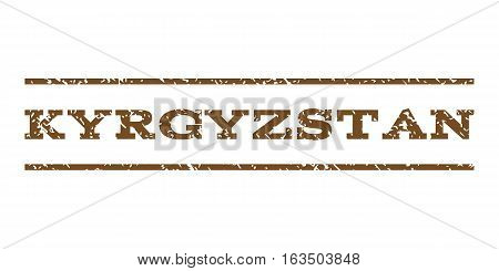 Kyrgyzstan watermark stamp. Text tag between horizontal parallel lines with grunge design style. Rubber seal stamp with dust texture. Vector brown color ink imprint on a white background.