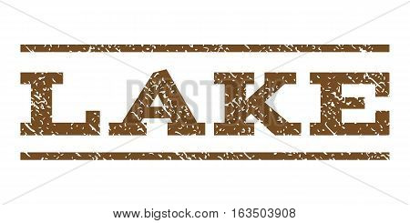 Lake watermark stamp. Text caption between horizontal parallel lines with grunge design style. Rubber seal stamp with unclean texture. Vector brown color ink imprint on a white background.
