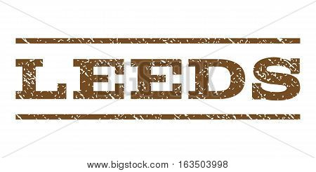 Leeds watermark stamp. Text tag between horizontal parallel lines with grunge design style. Rubber seal stamp with unclean texture. Vector brown color ink imprint on a white background.