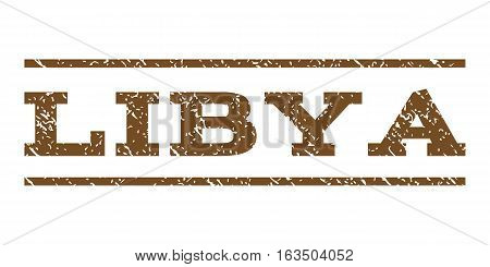 Libya watermark stamp. Text tag between horizontal parallel lines with grunge design style. Rubber seal stamp with dust texture. Vector brown color ink imprint on a white background.