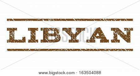 Libyan watermark stamp. Text tag between horizontal parallel lines with grunge design style. Rubber seal stamp with scratched texture. Vector brown color ink imprint on a white background.