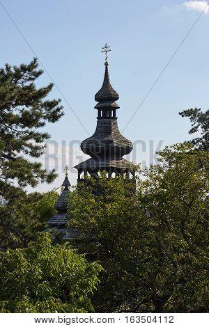 Old wooden church in Mukachevo. Zakarpatska Oblast.