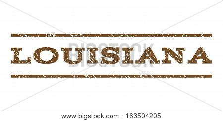 Louisiana watermark stamp. Text caption between horizontal parallel lines with grunge design style. Rubber seal stamp with dust texture. Vector brown color ink imprint on a white background.