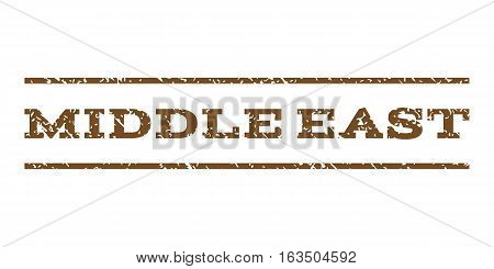 Middle East watermark stamp. Text caption between horizontal parallel lines with grunge design style. Rubber seal stamp with dust texture. Vector brown color ink imprint on a white background.