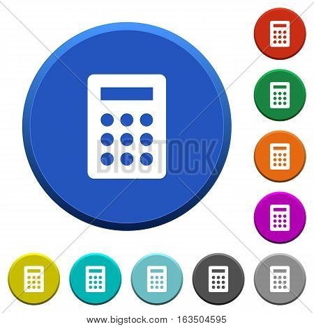 Calculator round color beveled buttons with smooth surfaces and flat white icons