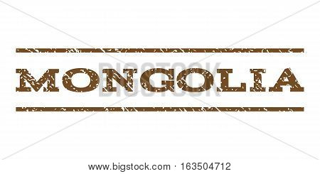 Mongolia watermark stamp. Text caption between horizontal parallel lines with grunge design style. Rubber seal stamp with scratched texture. Vector brown color ink imprint on a white background.