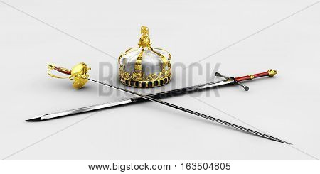 handed medieval knight sword and crown 3d illustration isolated