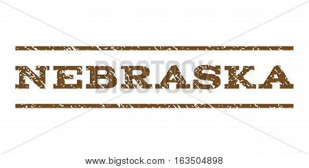 Nebraska watermark stamp. Text tag between horizontal parallel lines with grunge design style. Rubber seal stamp with scratched texture. Vector brown color ink imprint on a white background.