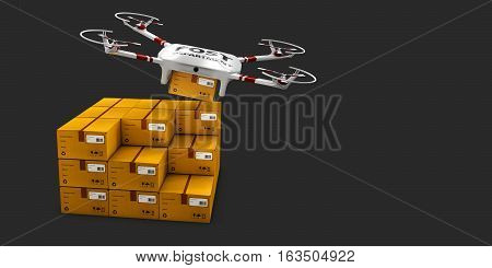 3d illustration of Delivery drone with the package