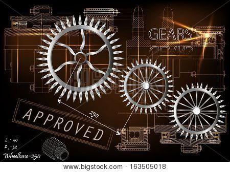 Background of mechanical engineering drawings, industry, education, gear, 3d science -vector illustration