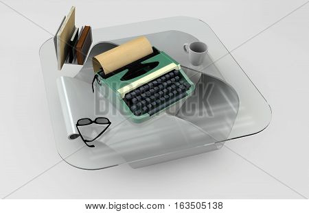 Writer desk mockup set. Desk with typewriter book cofe and glass. Workplace of writer or journalist. 3d illustration