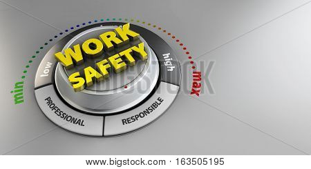 3d Illustration of Work Safety knob button switch. High confidence level concept. Technical design management modern.
