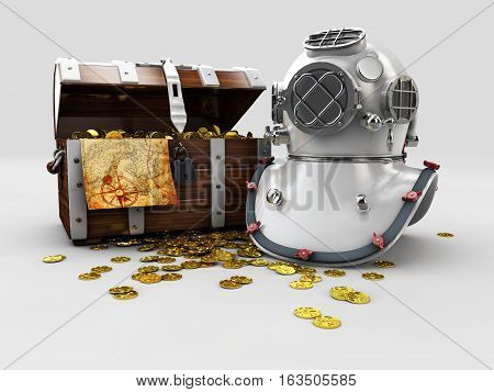 vintage wooden chest with golden coin and aqualung 3D illustration isolated on white background