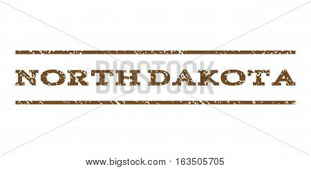 North Dakota watermark stamp. Text tag between horizontal parallel lines with grunge design style. Rubber seal stamp with scratched texture. Vector brown color ink imprint on a white background.