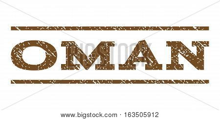 Oman watermark stamp. Text tag between horizontal parallel lines with grunge design style. Rubber seal stamp with unclean texture. Vector brown color ink imprint on a white background.