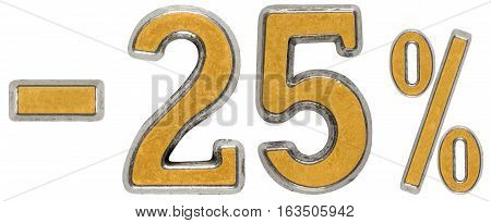 Percent Off. Discount. Minus 25, Twenty Five,  Percent. Metal Numeral, Isolated On White Background