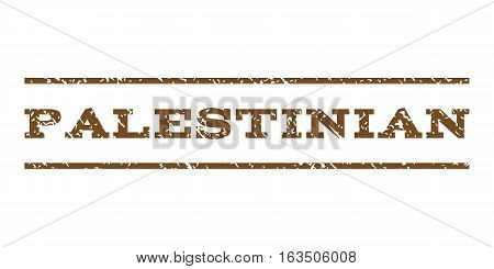 Palestinian watermark stamp. Text tag between horizontal parallel lines with grunge design style. Rubber seal stamp with dust texture. Vector brown color ink imprint on a white background.