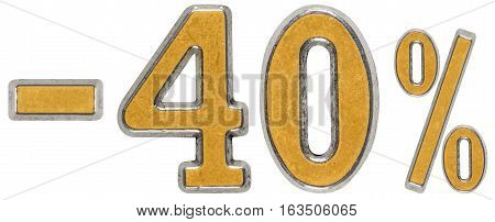 Percent Off. Discount. Minus 40, Forty,  Percent. Metal Numeral, Isolated On White Background