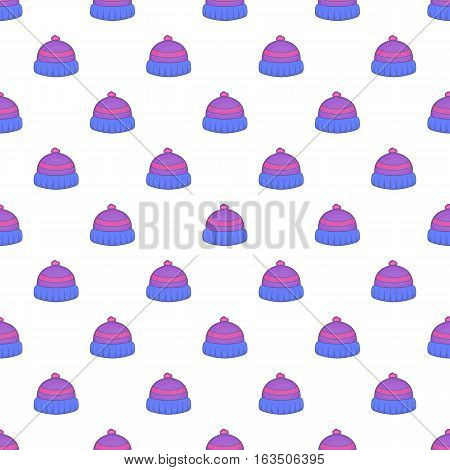 Knitted hat pattern. Cartoon illustration of knitted hat vector pattern for web