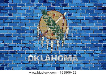 Flag of Oklahoma on a brick wall with effect - Illustration,  The flag of the state of Oklahoma on brick background,  Oklahoma flag in brick style