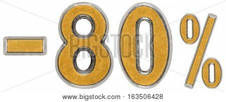 Percent Off. Discount. Minus 80, Eighty,  Percent. Metal Numeral, Isolated On White Background