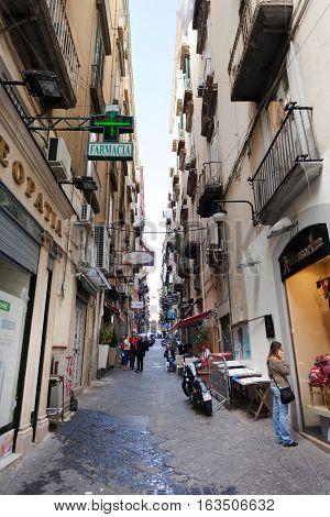 Vico Tre Re A Toledo In The Spanish Quarter Of Naples.