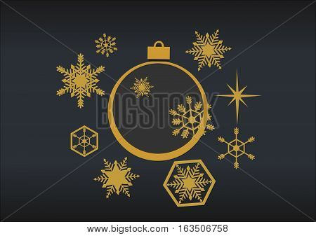 Golden christmas balls with snowflakes on a black background. Style flat