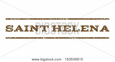 Saint Helena watermark stamp. Text tag between horizontal parallel lines with grunge design style. Rubber seal stamp with scratched texture. Vector brown color ink imprint on a white background.