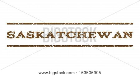 Saskatchewan watermark stamp. Text tag between horizontal parallel lines with grunge design style. Rubber seal stamp with unclean texture. Vector brown color ink imprint on a white background.