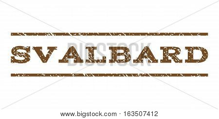 Svalbard watermark stamp. Text caption between horizontal parallel lines with grunge design style. Rubber seal stamp with dust texture. Vector brown color ink imprint on a white background.