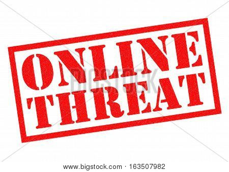 ONLINE THREAT red Rubber Stamp over a white background.