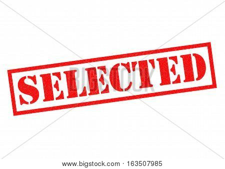 SELECTED red Rubber Stamp over a white background.