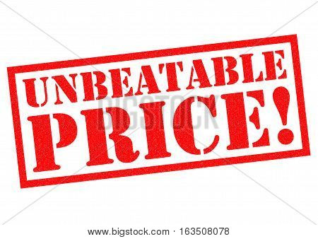 UNBEATABLE PRICE! red Rubber Stamp over a white background.