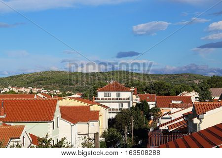 VODICE, CHROATIA - SEPTEMBER 6, 2016: It is an area of villas in the Croatian resort town of Vodice.