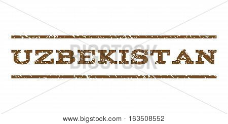 Uzbekistan watermark stamp. Text tag between horizontal parallel lines with grunge design style. Rubber seal stamp with scratched texture. Vector brown color ink imprint on a white background.
