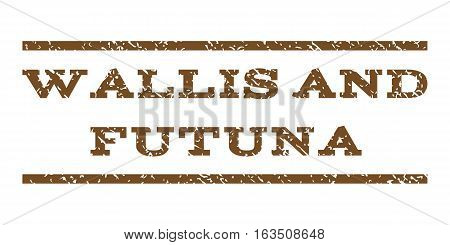 Wallis and Futuna watermark stamp. Text tag between horizontal parallel lines with grunge design style. Rubber seal stamp with dirty texture. Vector brown color ink imprint on a white background.