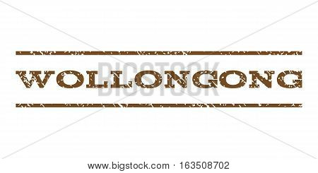 Wollongong watermark stamp. Text caption between horizontal parallel lines with grunge design style. Rubber seal stamp with scratched texture. Vector brown color ink imprint on a white background.