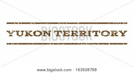 Yukon Territory watermark stamp. Text tag between horizontal parallel lines with grunge design style. Rubber seal stamp with unclean texture. Vector brown color ink imprint on a white background.
