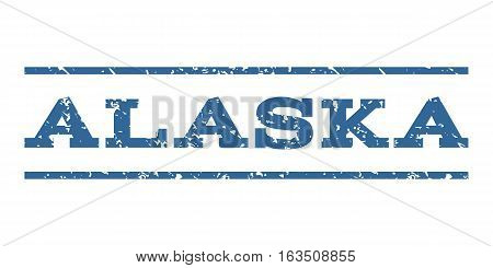 Alaska watermark stamp. Text tag between horizontal parallel lines with grunge design style. Rubber seal stamp with dirty texture. Vector cobalt color ink imprint on a white background.