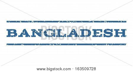 Bangladesh watermark stamp. Text tag between horizontal parallel lines with grunge design style. Rubber seal stamp with dust texture. Vector cobalt color ink imprint on a white background.