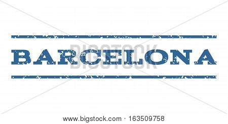 Barcelona watermark stamp. Text tag between horizontal parallel lines with grunge design style. Rubber seal stamp with dust texture. Vector cobalt color ink imprint on a white background.