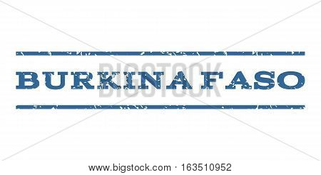 Burkina Faso watermark stamp. Text caption between horizontal parallel lines with grunge design style. Rubber seal stamp with scratched texture. Vector cobalt color ink imprint on a white background.