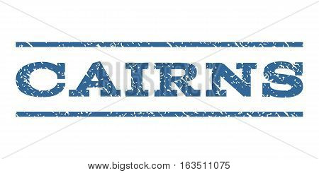 Cairns watermark stamp. Text tag between horizontal parallel lines with grunge design style. Rubber seal stamp with unclean texture. Vector cobalt color ink imprint on a white background.