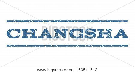 Changsha watermark stamp. Text caption between horizontal parallel lines with grunge design style. Rubber seal stamp with dust texture. Vector cobalt color ink imprint on a white background.